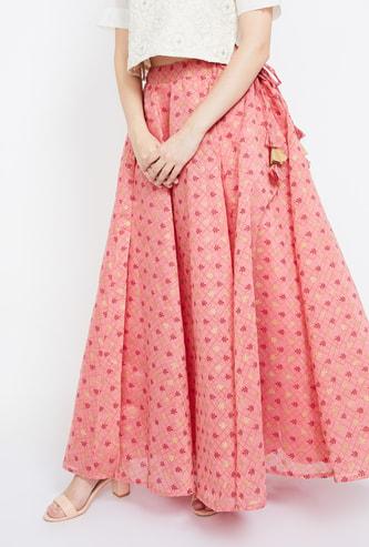 IMARA Printed Maxi Skirt with Tasselled Tie-Up
