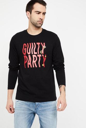 SMILEY Printed Regular Fit Full Sleeves T-shirt