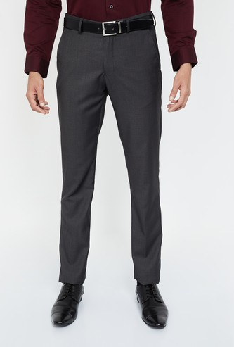 LOUIS PHILIPPE Solid Slim Tapered Trousers