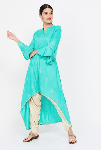 SHREE Printed High-Low Kurta with Solid Dhoti Pants