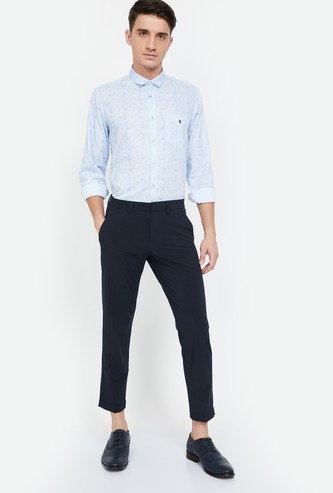 ALLEN SOLLY Solid Slim Fit Cropped Trousers