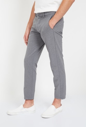 ALLEN SOLLY Textured Low Rise Slim Tapered Trousers
