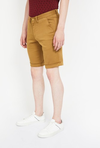 ALLEN SOLLY Textured Regular Fit Casual Shorts