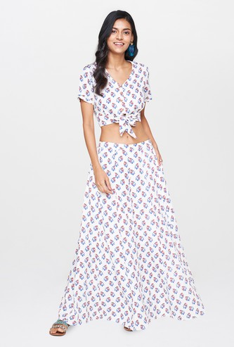 GLOBAL DESI Women Printed Top with Maxi Skirt