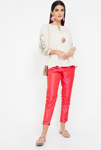 SPAN Solid Regular Fit Cropped Pants