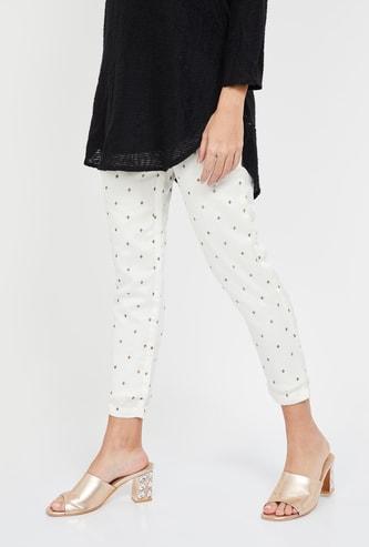 SPAN Printed Woven Regular Fit Cropped Pants