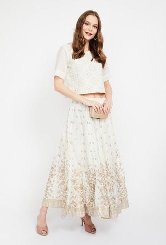 BIBA Floral Print Maxi Skirt