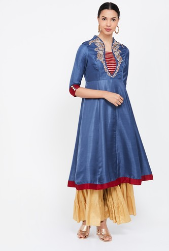 LOBAANYA Embroidered A-line Kurta