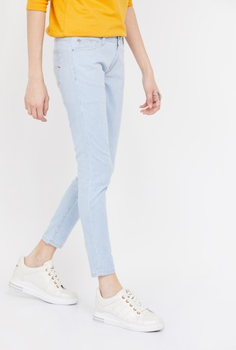 LEE COOPER Striped Slim Fit Cropped Jeans