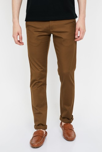 ALLEN SOLLY Textured Slim Straight Fit Chinos