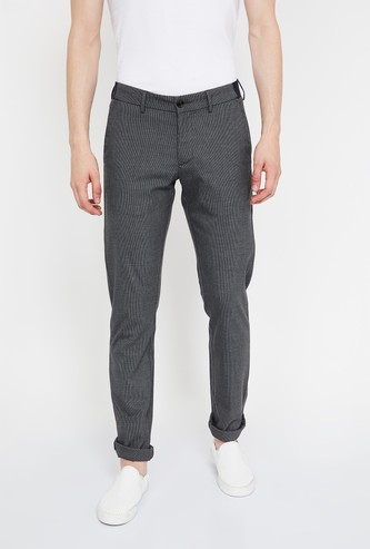 ALLEN SOLLY Textured Slim Straight Casual Trousers