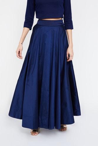 DE MOZA Solid Flared Maxi Skirt
