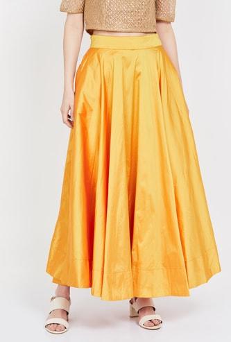 DE MOZA  Solid A-line Maxi Skirt