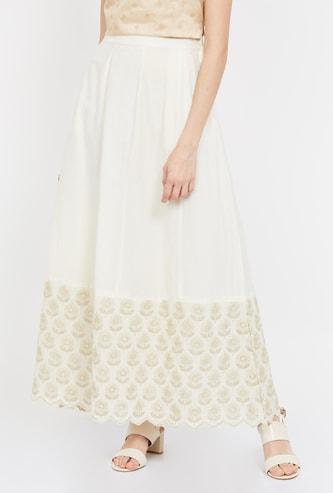 DE MOZA Printed Pleated A-line Maxi Skirt