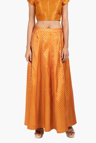 INDYA Printed A-line Skirt