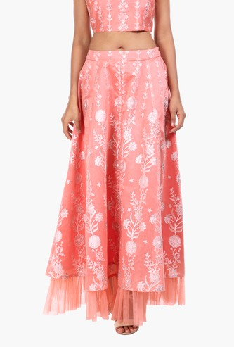 INDYA Printed Layered Maxi Dress