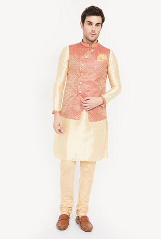 MANYAVAR  Solid Kurta with Churidar and Jacquard Band Collar Jacket