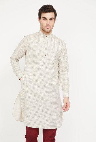 MANYAVAR Jacquard Patterned Band Collar Kurta