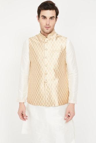 MANYAVAR Jacquard Patterned Band Collar Jacket