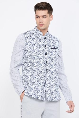 MANYAVAR Printed Band Collar Jacket