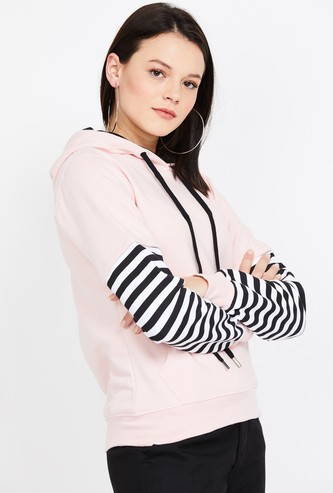 CAMPUS SUTRA Striped Hooded Sweatshirt