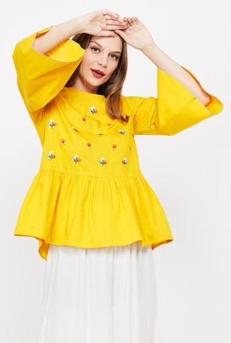 GLOBAL DESI Embroidered Bell Sleeves Top