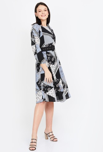 CODE Printed Three-quarter Sleeves A-line Dress