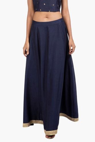 INDYA Solid Skirt with Zari Detailed Hem
