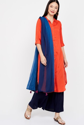 RANGRITI Ombre-Dyed Dupatta with Tassels