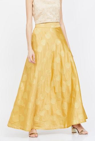 DE MOZA Printed Flared Maxi Skirt