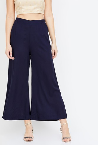 DE MOZA Solid Palazzo Pants with Elasticated Waistband