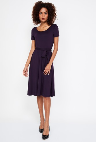 CODE Solid Fit & Flare Dress with Sash Tie-Up
