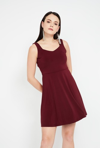 GINGER Solid Skater Dress with Sash Tie-Up