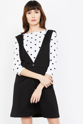 GINGER Solid Pinafore Dress with Polka-Dot Print Top