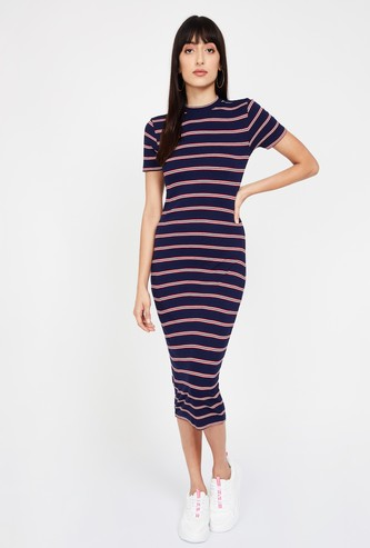 GINGER Striped Short Sleeves Bodycon Dress