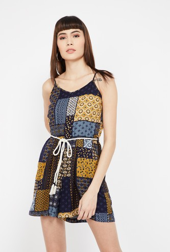 GINGER Printed Spaghetti Dress with Tie-Up
