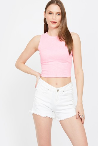 GINGER Solid Sleeveless Crop Top