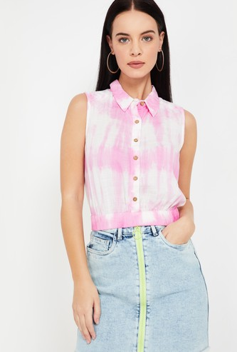 GINGER Tie-Dye Print Sleeveless Shirt