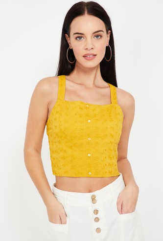 GINGER Floral Embroidery Crop Top