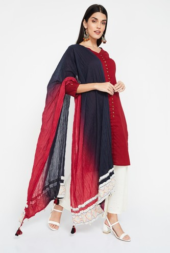 RANGRITI Ombre-Dyed Dupatta with Tasselled Border