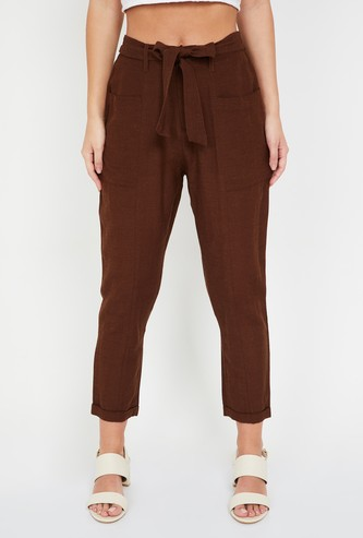 GINGER Solid Tie-Up Waist Regular Fit Trousers