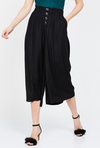 GINGER Solid Cropped Flared Pants