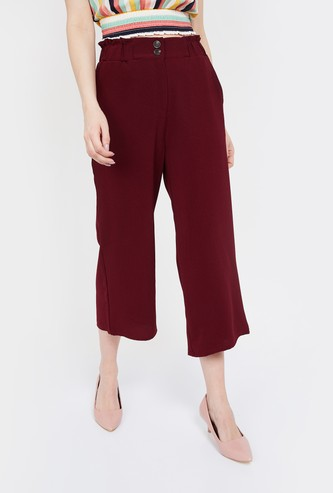 GINGER Solid Straight Fit Cropped Trousers