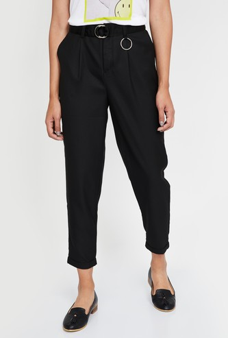GINGER Pleat-Front Tapered Cropped Pants