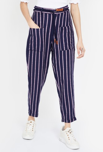 GINGER Striped Regular Fit Trousers with Patch Pockets