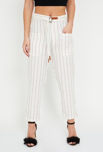 GINGER Striped Slim Fit Tie-Up Waist Straight Pants