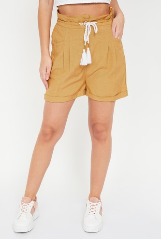 GINGER Solid Casual Shorts with Belt