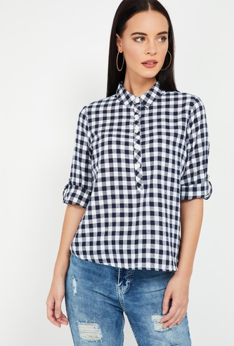 FAME FOREVER Checked Half-Button Placket Shirt