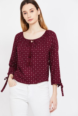 FAME FOREVER Printed Three-quarter Sleeves Top