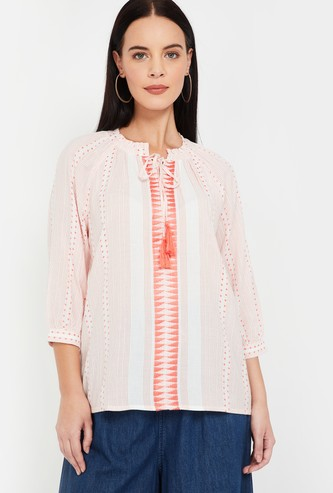 FAME FOREVER Printed Tie-Up Neck Top
